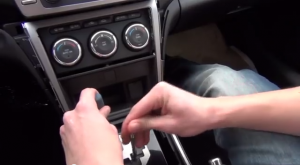 Press shifter fasten trigger in and make shifter down