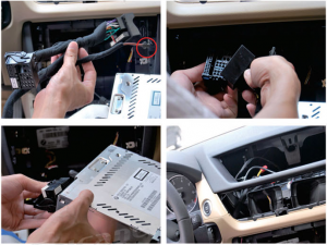 7.Pull out the wire harness on the original car's CD player, the female plug on the power cable we supply is connected with the male plug