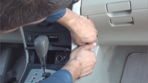 1-1. Unclip side panels from lower center console(beside shifter) by using a panel removal tool
